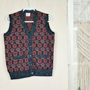 VTG Grey & Orange Floral Angora Blend Sweater Vest